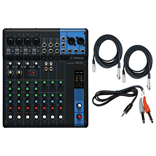 Yamaha MG10 10 Input Stereo Audio Mixer with 10-channel Analog Mixer with 4 Microphone Preamps , 3 Dedicated Stereo Line Channels , 1 Aux Send , EQ, and 1-knob Compressors Audio Mixer Bundle /w Cables (Mixer Microphone Stereo)