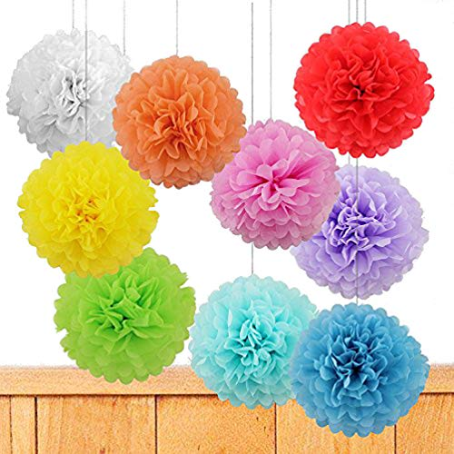 Life Glow 12Pcs Pom Poms of 10 12 14 Multi-Colors Tissue Paper Craft Pom Poms Kit Tissue Paper Flowers Wedding Decorations for Wedding, Birthday, Baby Shower, Nursery Decor-Colorful