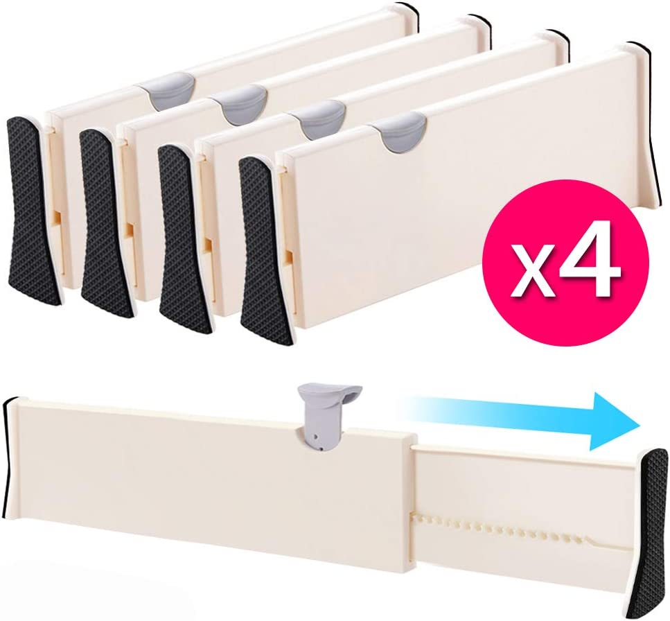 "Drawer Dividers Organizer 4 Pack, Adjustable Separators 4"" High Expandable from 14.9-21"" for Bedroom, Bathroom, Closet, Clothing, Office, Kitchen Storage, Strong Secure Hold, Foam Ends, Locks in Place"