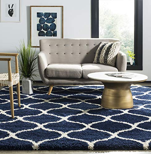 (Safavieh Hudson Shag Collection SGH280C Navy and Ivory Moroccan Ogee Plush Area Rug (8' x)
