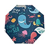 DOENR Compact Travel Umbrella Sea World Animals Sun and Rain Auto Open Close Lightweight Portable Folding Umbrella