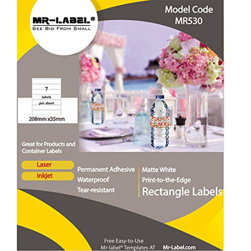 Mr-Label-Waterproof Blank Water Bottle Labels-for Inkjet|Laser Printer-Self-Adhesive Wraparound-for 16oz. Water Bottle-Matte White-for Wedding|Baby Shower|Corporate Events(10 Sheets Total 70 Labels) (Best All Around Inkjet Printer)