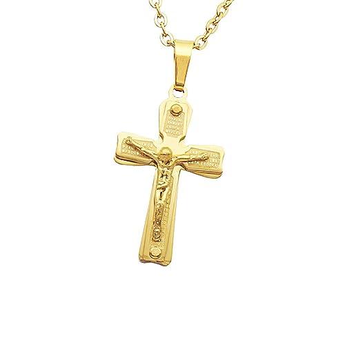 Crucifijo Cruz Colgante de Collar de Acero Inoxidable de Oro para Hombres Mujeres