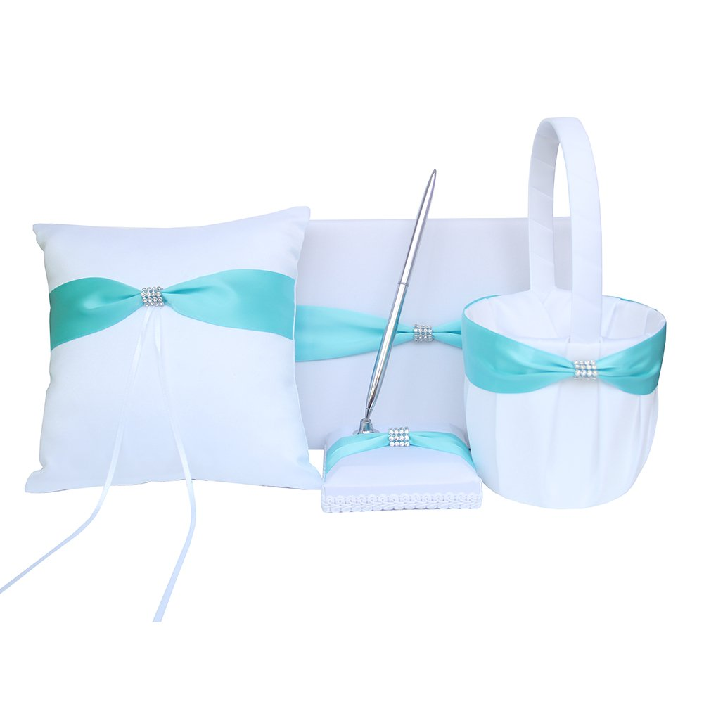ARKSU 4pcs Wedding Sets Flower Girl Basket + Ring Bearer Pillow + Guest Book Pen + Pen Set Holder Rustic Bridal Wedding Shower Ceremony-Aqua Blue