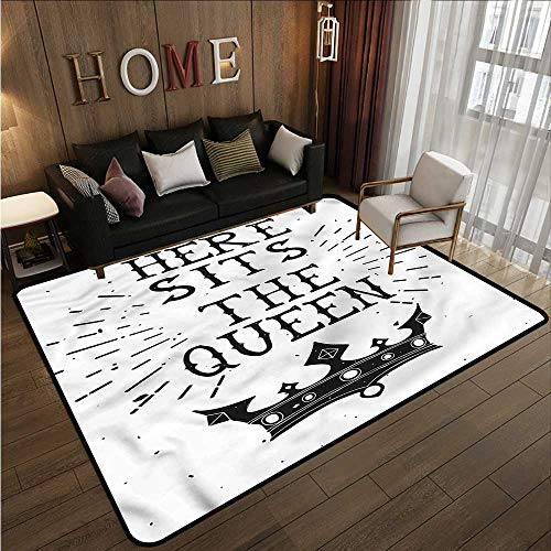 Kids Rug Queen Vintage Quote and Crown Children Crawling Bedroom Rug 4'11
