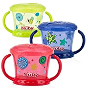 Nuby 3 Piece Designer Series Snack Keeper, Red/Yellow/Blue
