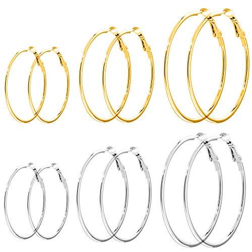 6 Pairs Hoop Earrings for Women Girls 14k Gold or Silver Tone Stainless Steel Hoop Earrings 40mm 50mm 60mm