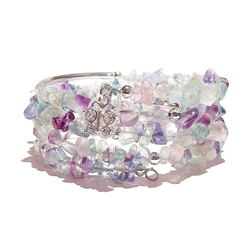 Purple & Green Rainbow Fluorite Gemstone Chip Wrap Cuff / Bangle