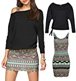 Jusfitsu Women's 2 Piece Outfits Casual Bodycon Short Tank Dresses with Long Sleeve Tops Black S