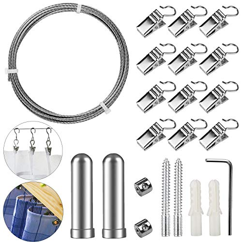 (Pinowu Stainless Steel Curtain Drape Wire Rod Set with 12 Clips - Picture Hanging Wire Clothesline Wire Multi-Purpose Set Hang Photos, Notes, Art (3 Meter))
