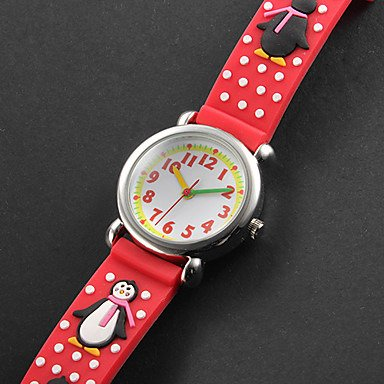 Readeel Aquariums Series Analog Watch Red Silicone Absolutely Environmentally Friendly Materials Band Penguin Children Cartoon Watch