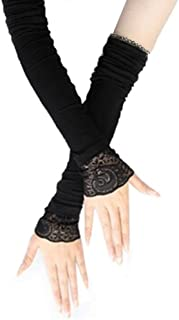 Female Thin Cotton Long Sleeves Driving Arm Set Arm Covers with Lace,Black