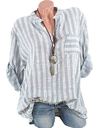 Shirt ShallGood Button Longue Shirt Rayue V Col Gris Chemise Elgante Blouse Chemisier Classique Manche Up Ray Femme Chemisier Loose Blouse Casual Top UAqraxFU