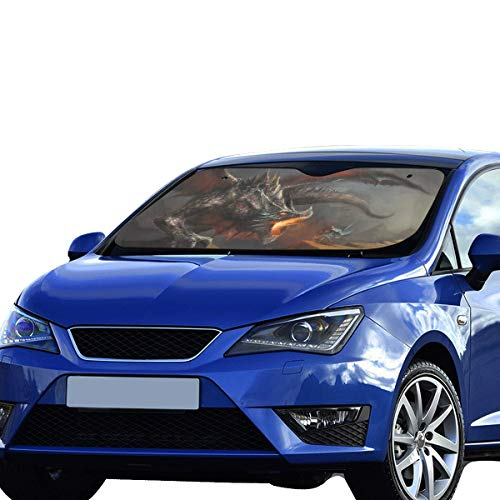 GIRLOS Windshield Cover for Car Fantasy Cool Dragon Foldable Sunshade for Maximum Uv and Sun Protection Keep Your Vehicle Cool 55 X 30inch (140cm X 75cm) Sun Shades for Car Windshield ()