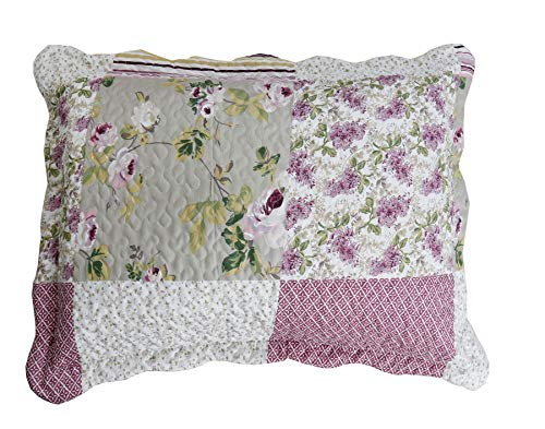 MarCielo 2-Piece Pillow Shams, Decorative Microfiber Pillow Shams Set Standard Size, French Purple Rose (French Quilted Pillow)