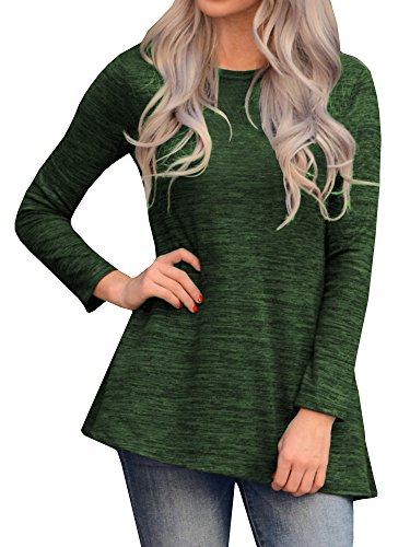 Saikesigirl Womens Asymmetrical Knit Tunic Tops Casual Long Sleeve Side Button Blouse