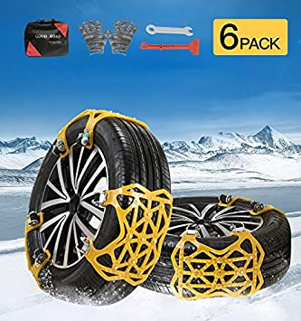 Orange Security Blocks for Vehicle Cars//SUV//Truck//ATV Winter Wheel Chains soyond 10 pcs Tire Chains for Cars Adjustable Anti Slip Emergency Tire Straps