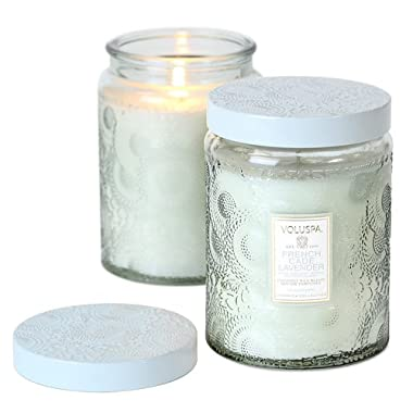 Voluspa French Cade & Lavender Large Glass Jar Candle 100 Hour Limited 16 oz