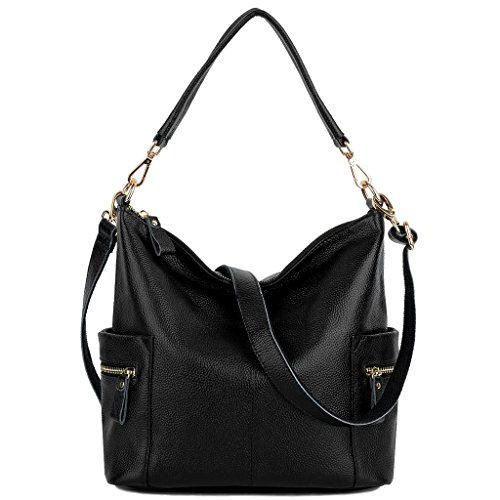 Yaluxe Women's Side Pocket Soft Genuine Cowhide Leather Handbag Hobo Style Shoulder Bag-Black Black