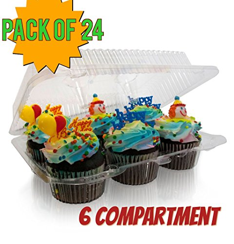 6 compartment Cupcake boxes, Clear Cupcake and Muffin Containers with Hinged Lid, Strong and Sturdy, BPA Free,6 Cavity Cupcake Container , Cupcake boxes (24, 6 -Compartment Cupcake Containers)