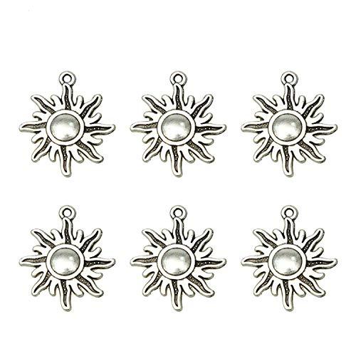 Pomeat 100 Pcs Antique Silver Sun Sunburst Charms Celestial Planet Charms Pendant for Bracelets Jewelry Making