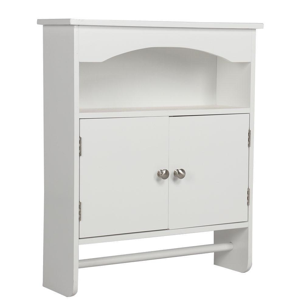 go2buy Bathroom Wall Cabinet Wood Medicine Storage Organizer Double Door Shelves with Bar White