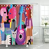 Emvency Shower Curtain Picasso The Dancing Couple and Woman Playing Guitar Fine Dance Music Waterproof Polyester Fabric 72 x 72 inches Set with Hooks