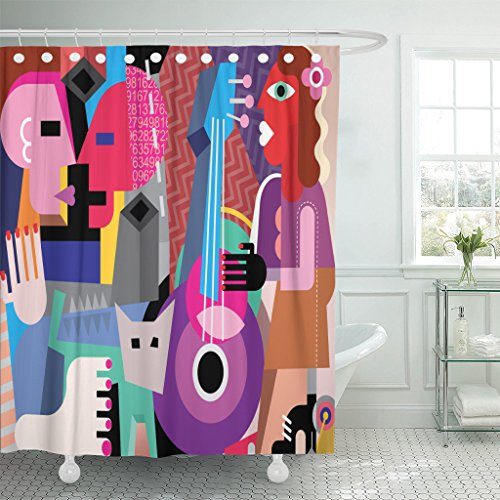 Emvency Shower Curtain Picasso The Dancing Couple and Woman Playing Guitar Fine Dance Music Waterproof Polyester Fabric 72 x 72 inches Set with Hooks by Emvency