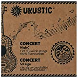 UKUSTIC - Ukulele Strings Soprano Concert Tenor High-Low G - 100% Clear Fluorocarbon