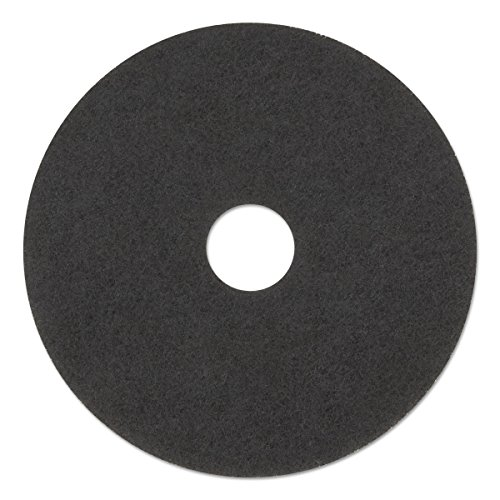 3M 08379 Low-Speed Stripper Floor Pad 7200, 17'' Diameter, Black (Case of 5) by 3M