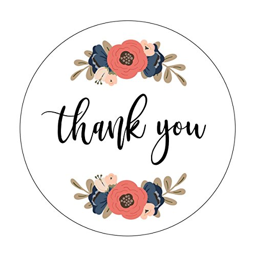 Thank you Stickers, Navy and Blush Wedding, Floral Accents, Thank You Labels, Favor Stickers, Thank -