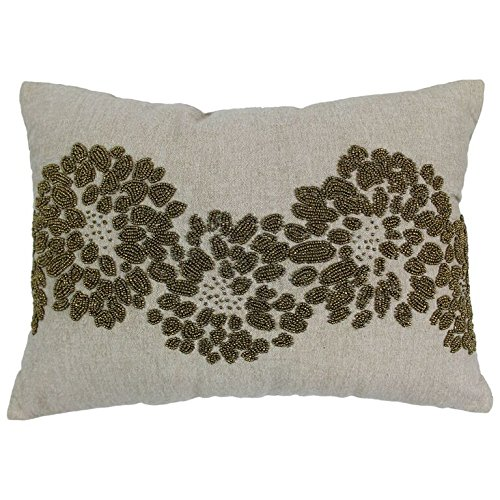 - Blazing Needles Floral Pattern Beaded Chambray Throw Pillow, 18-Inch by 13-Inch