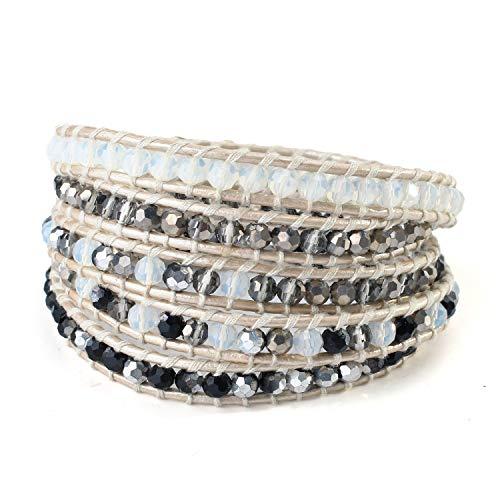 (KELITCH Clear Crystal Beaded Bracelets 5 Wraps Bracelets On Leather Chain Jewelry (Gray))