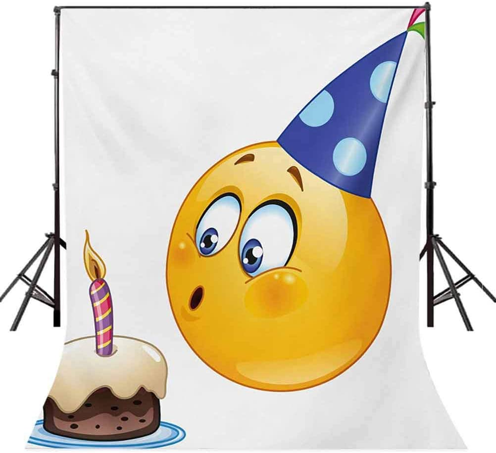 Kids Birthday 10x12 FT Backdrop Photographers,Happy Face Celebration with Cone Hat Blowing Party Cake Print Background for Baby Shower Bridal Wedding Studio Photography Pictures Yellow and Dark Blue