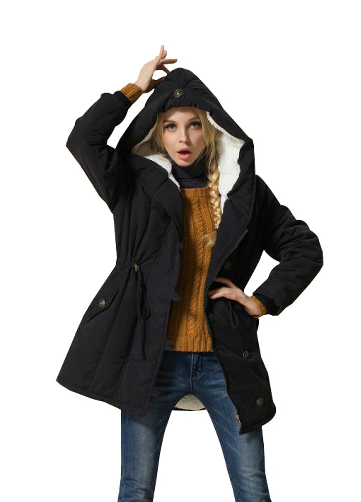 Wicky LS Women's Autumn Winter Hoody Fleece Outwear Coat with Drawstring Style 1 Black 2XL