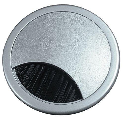 """2.375"""" Plastic Brush Desk Grommet - Silver"""