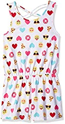 The Children\'s Place Toddler Girls\' Emoji Print Romper, Simplywht, XS (4)