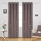Deconovo Silver Dots Printed Thermal Insulated Blackout Curtains with Grommet Top Light Blocking Curtains for Bedroom 52 W x 95 L Taupe 2 Panels