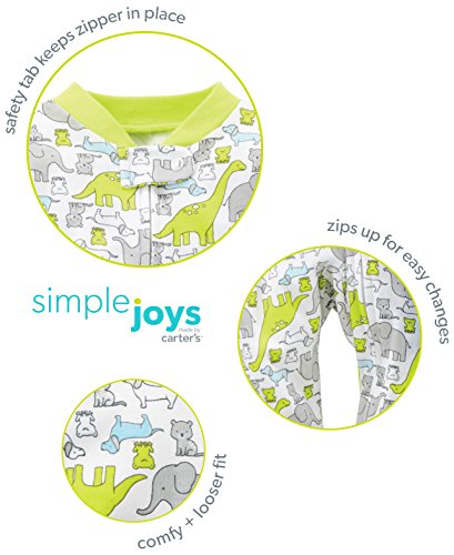 Simple Joys by Carter's Baby Neutral 2-Pack Cotton Footed Sleep and Play, Bear/Turtle, 6-9 Months by Simple Joys by Carter's (Image #5)