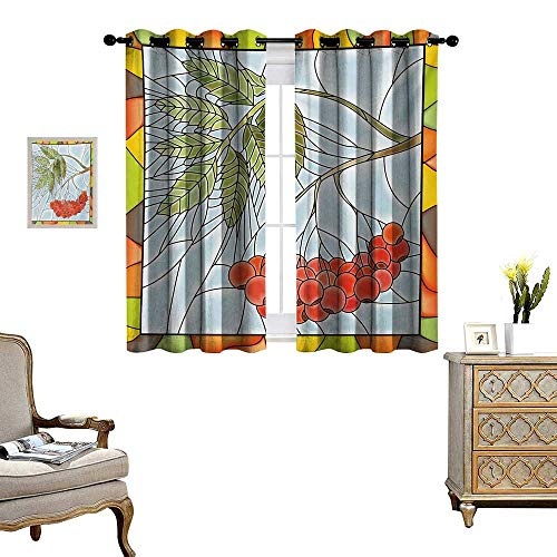 tain Fabric Rowan Branch Motif on a Stained Glass Frame Noel Season Berries Winter Theme Drapes for Living Room W72 x L72 Multicolor ()