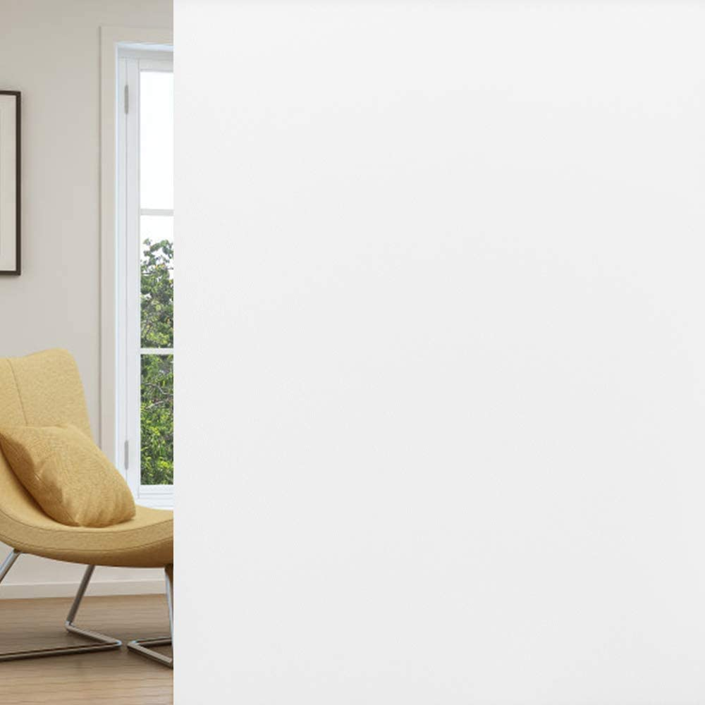 rabbitgoo Window Privacy Film, Frosted Removable Glass Covering for Bathroom, Opaque Static Cling Heat Control Door Sticker for Home Office Living Room, Non-Adhesive (Matte White, 17.5 x 118 inches)