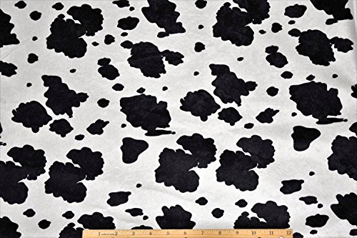 Halloween Costume Pony Cow Skin Suede Cloth Black/White Fabric by the Yard