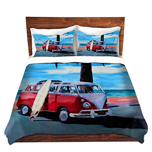 Duvet Cover Premium Woven Twin, Queen, King from DiaNoche Designs by Markus Bleichner Unique, Cool, Fun, Funky, Artistic, Designer, Stylish Home Decor and Bedroom Bedding Ideas - The Red Bus Vokswagon