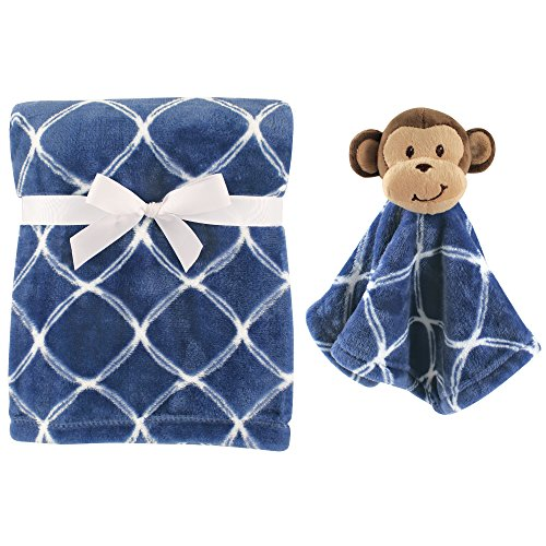 Hudson Baby Unisex Baby Plush Blanket with Security Blanket, Blue Monkey 2 Piece, One Size
