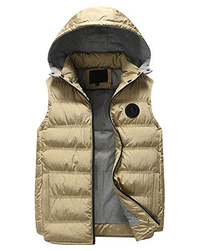 Cappuccio Cappotti Maniche Laterali Giovane Da Khaki Cerniera Giacca Distintivo Con Senza Tasche Slim Vest Trapuntato Gilet Calda Bodywarmer Fit Uomo Unvq1vFO