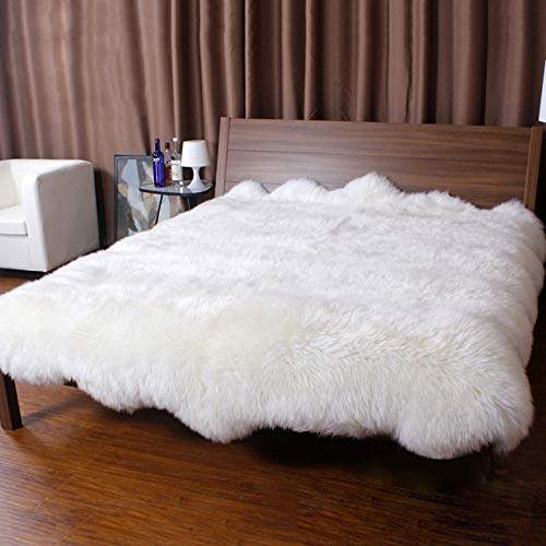 GC Super Soft Natural Australia Lambskin Throw Wool Mattress Genuine Sheepskin Fur Area Rugs High-Density Wool Bed Mats Carpet,White-220x220cm(87x87inch)