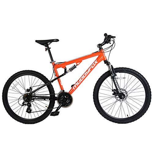 Muddyfox Unisex Adult T-Blaze Dual Suspension 21 Speed Mountain Bike, Orange, 26 Inch