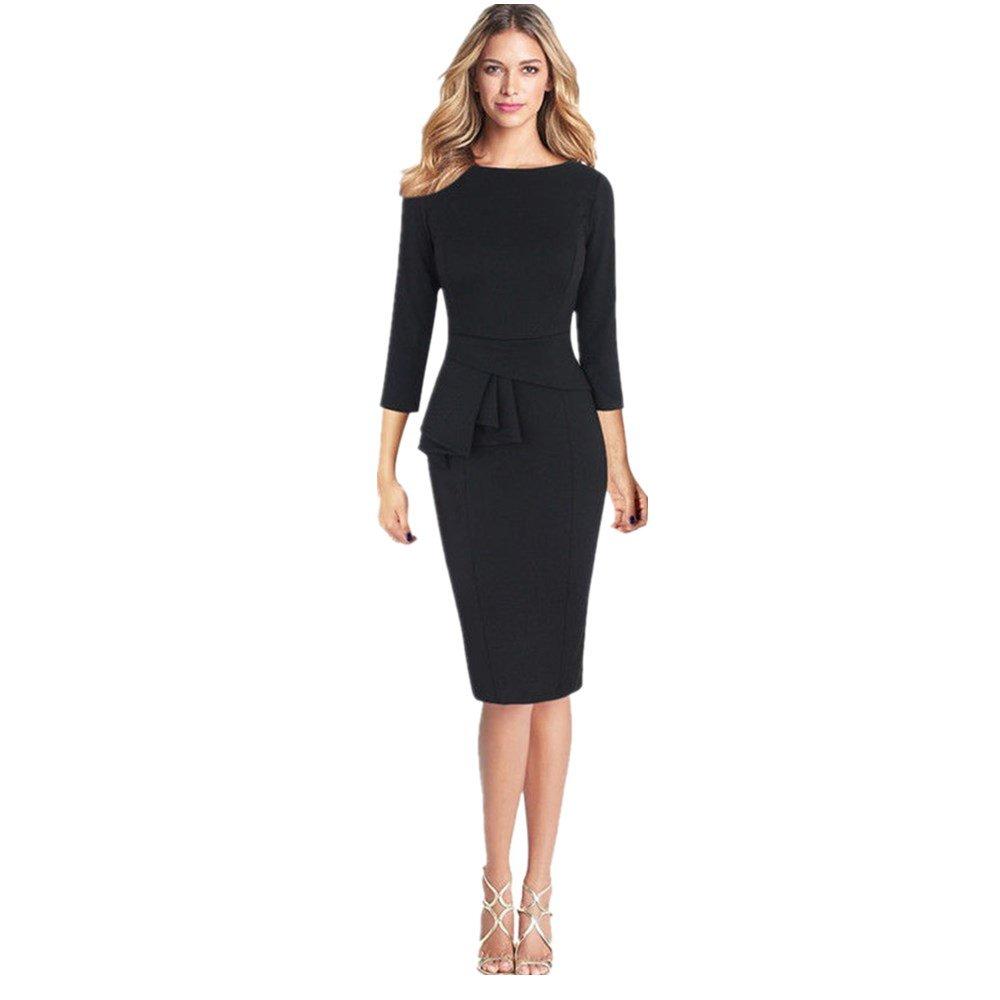 IEason Women Dresses Women Elegant Frill Peplum 3/4 Gown Sleeve Work Business Party Sheath Dress (XS, Black)