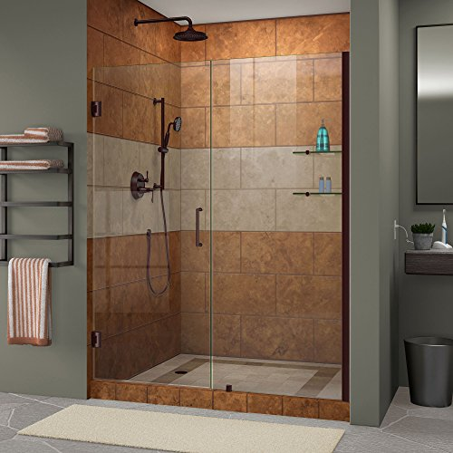 DreamLine Unidoor 57-58 in. Width, Frameless Hinged Shower Door, 3/8