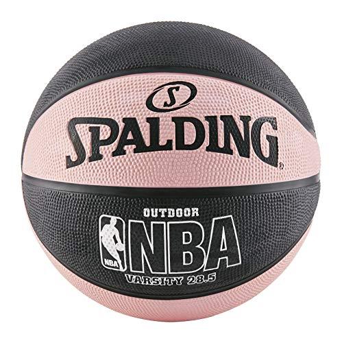 Spalding NBA Varsity Outdoor Rubber Basketball - Black/Pink - Intermediate Size 6 (28.5